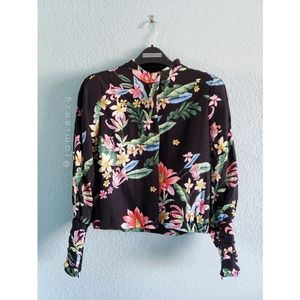Zara | Floral Collarless Zip-Up Jacket